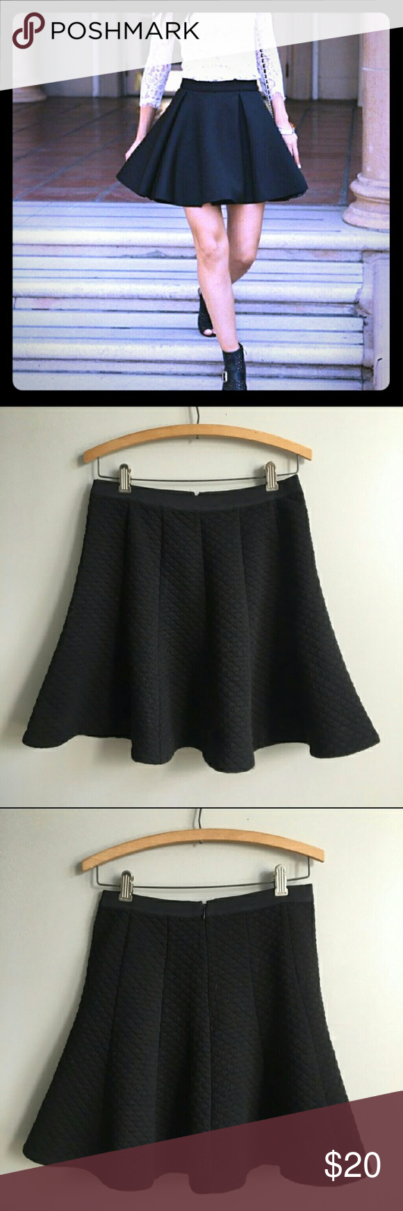 Anthropologie Black Skater Skirt Beautiful classy black skirt from Anthropologie. 🌼Back zip up and waist band. Really good quality, not thin fabric at all!! 🌷 size S but fits M too. Offer welcome!! Can ship tomorrow! 🌸 Anthropologie Skirts Circle & Skater