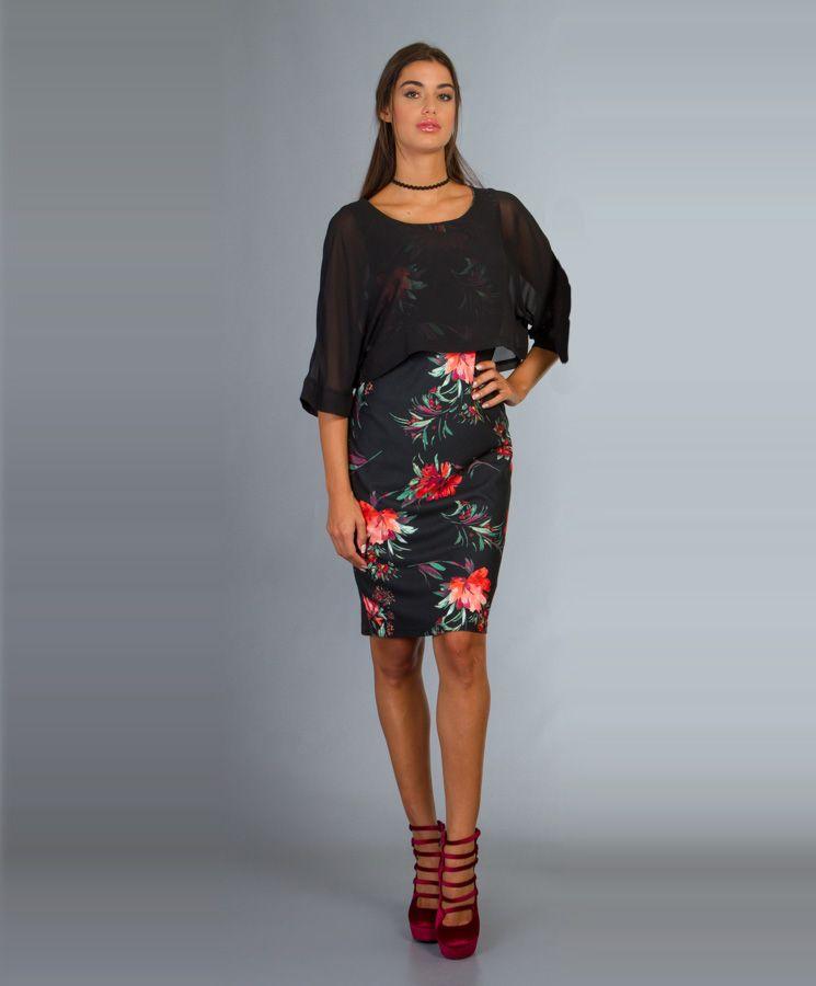 Στενό Φλοράλ Φόρεμα με Διαφάνεια  ec09243d817
