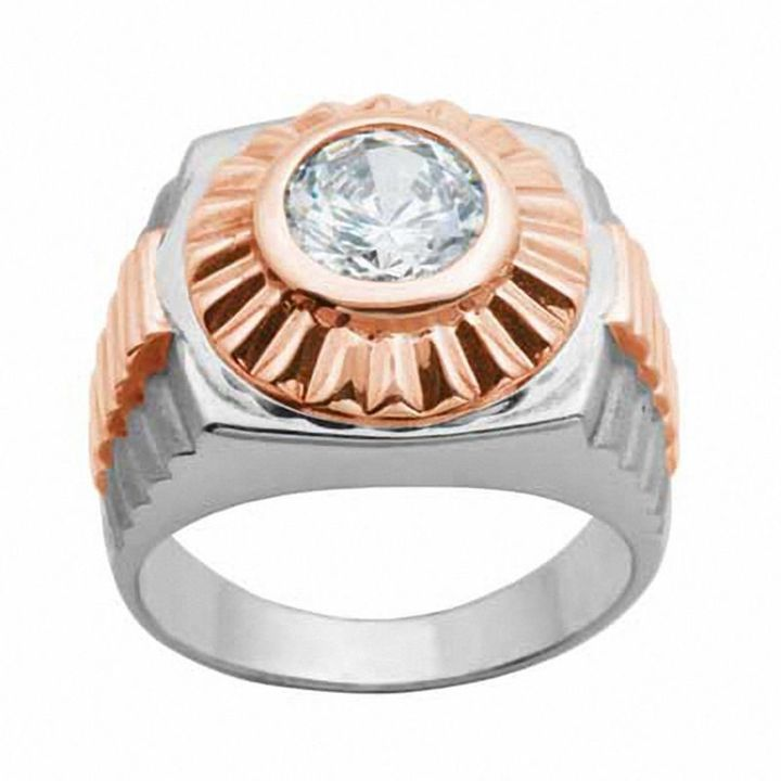 Zales Mens Square-Cut Lab-Created White Sapphire Ring in Sterling Silver with 18K Gold Plate vscRDj