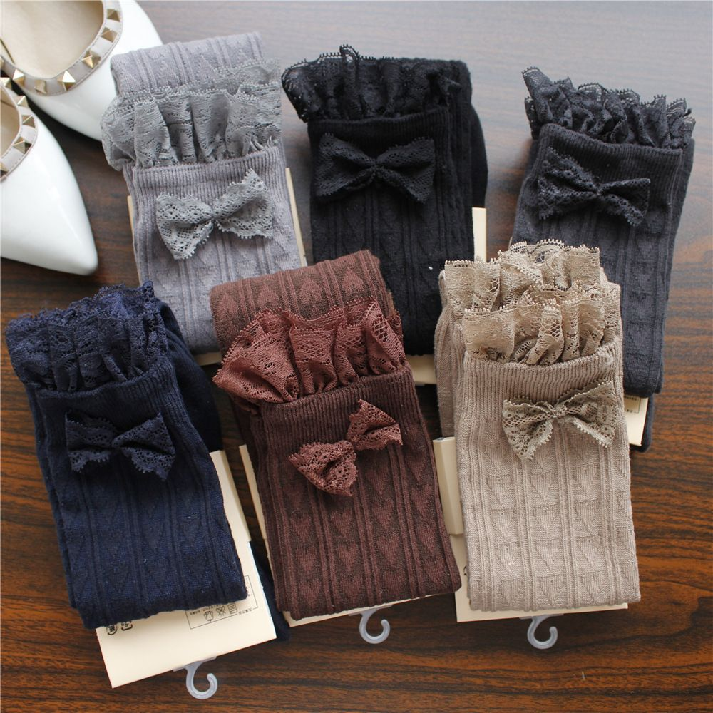 Autumn winter warm stockings lace bow japanese thigh high stockings