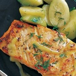 Mustard-Glazed Salmon 3 tablespoons olive oil 1 tablespoon Dijon mustard 1 tablespoon fresh lemon juice Salt and pepper 4 pieces salmon fillet (6 ounces each), with skin Chopped fresh dill (optional)