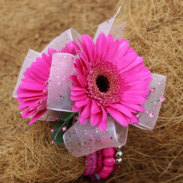 Hot Pink wrist corsage Gerberas with Ribbon/Sparkle