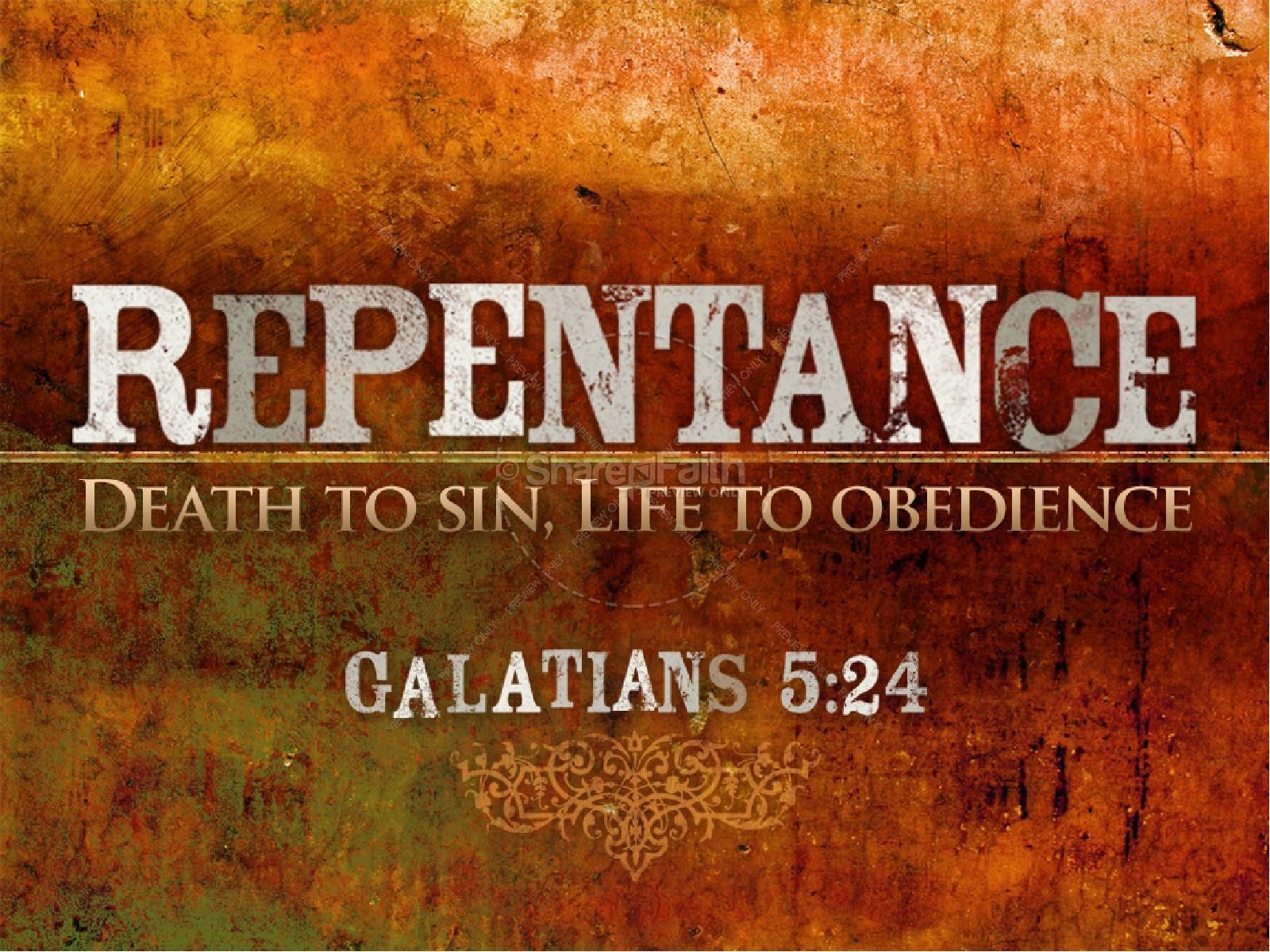 "A Christian Powerpoint Template With The Theme Of Repentance, Featuring A  Praying Man With Text ""repentance - Death To Sin, Life To Obedience"" And  Scripture"