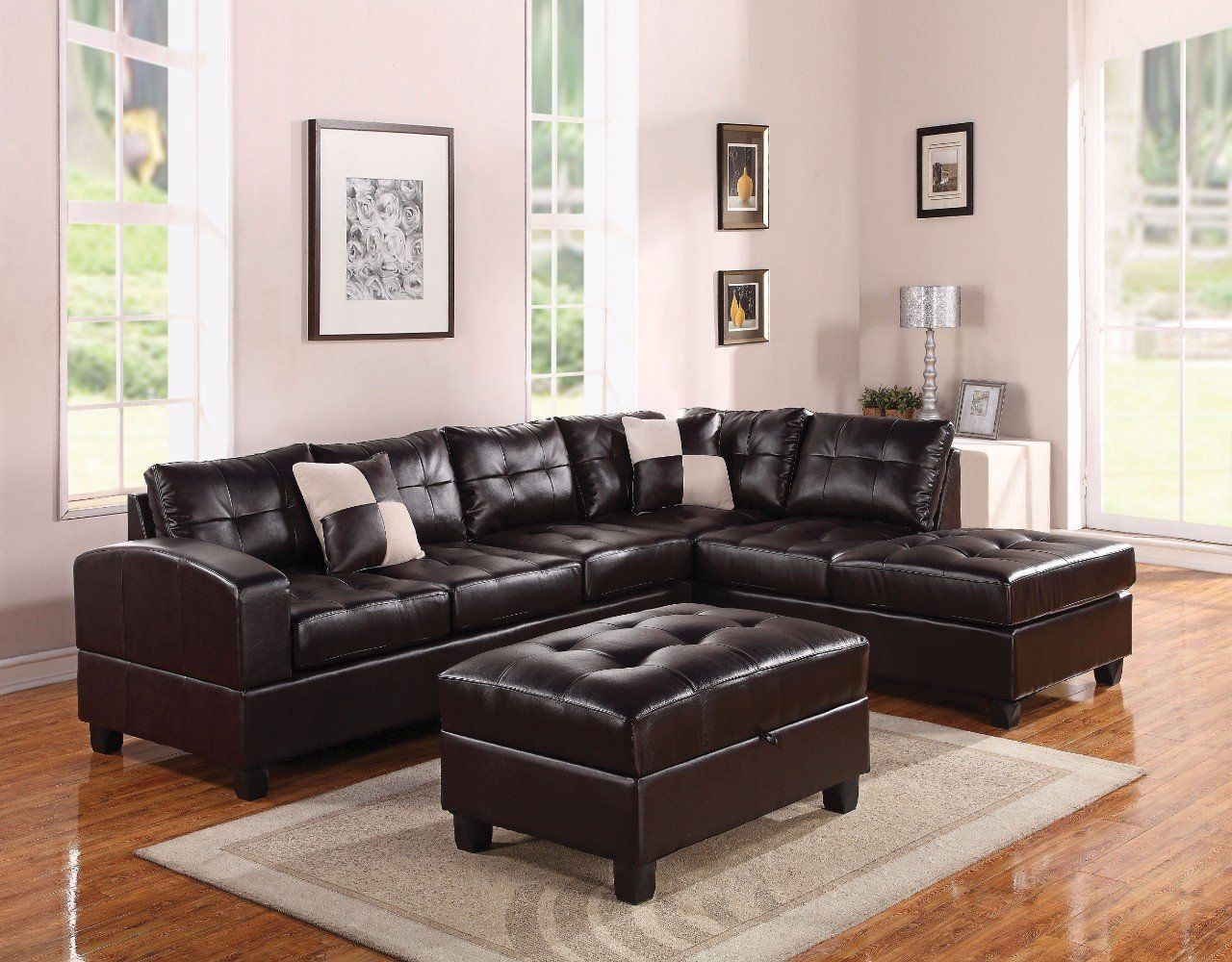 Bonded Leather Reversible Sectional Sofa With 2 Pillows Brown