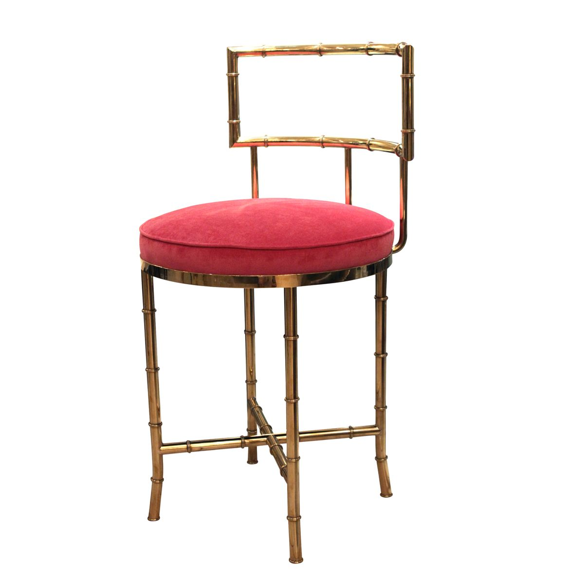 Faux bamboo brass high back vanity chair stools john