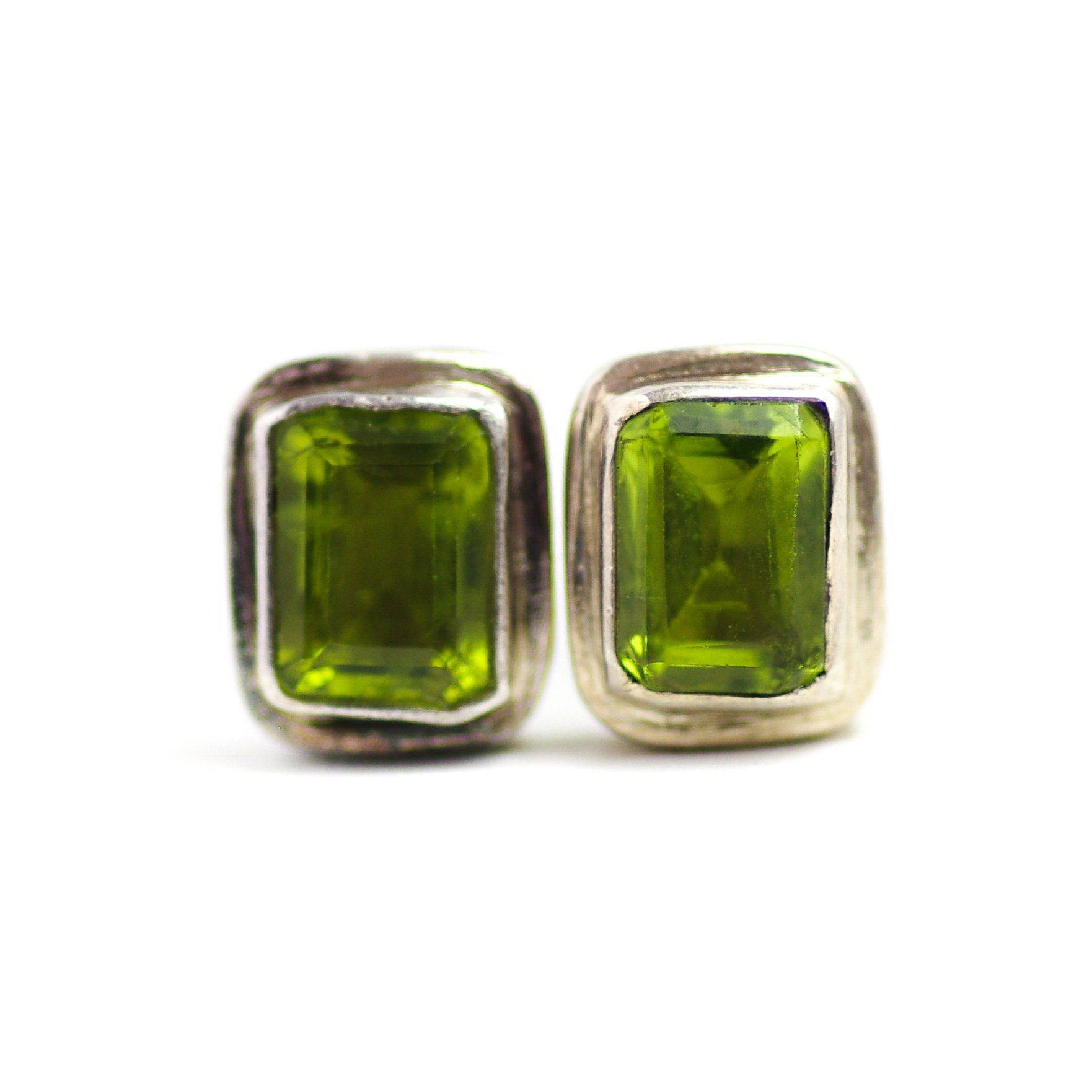 Vintage 1970s Rectangular Cut Peridot and Sterling Silver Large Stud Pierced Earrings