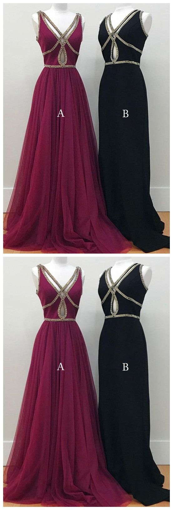 Prom dressesnew fashion prom dressessimple hollow out long v neck