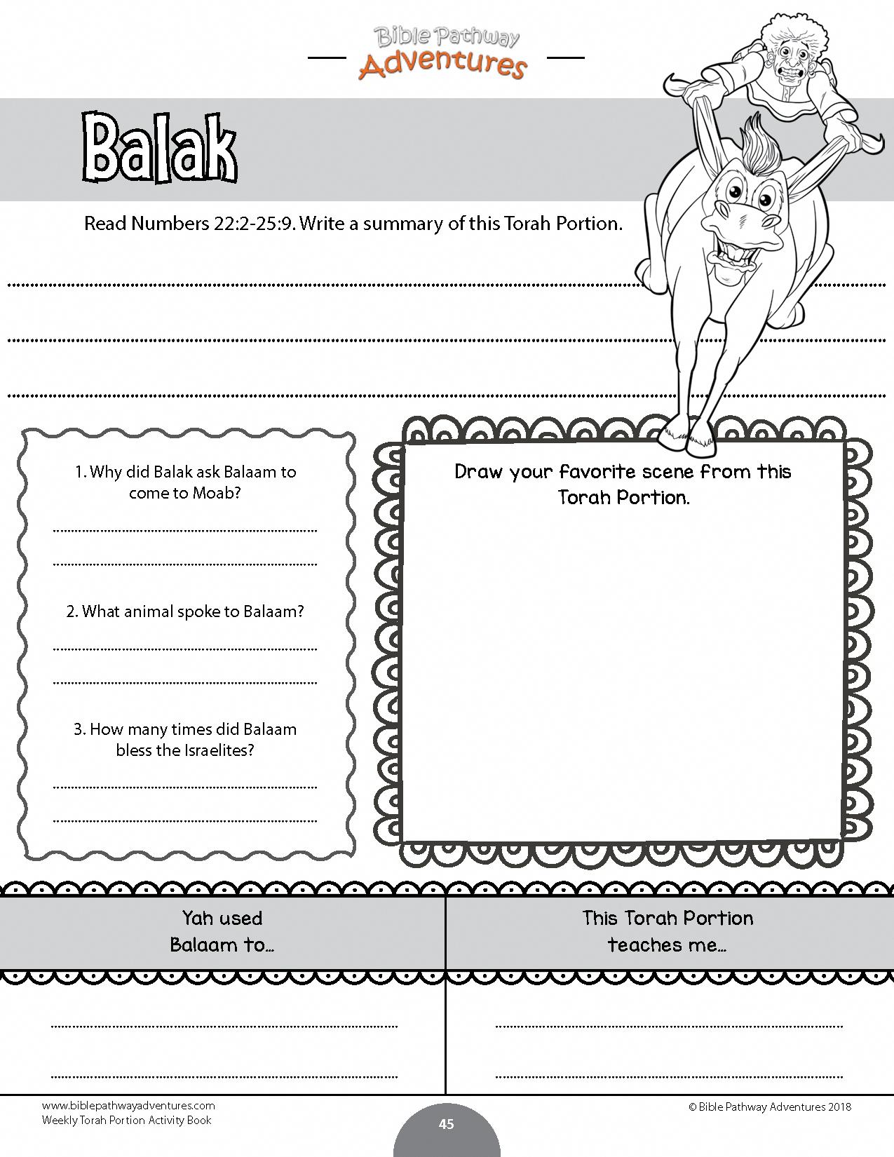 Balak Torah Portion Activity For Kids
