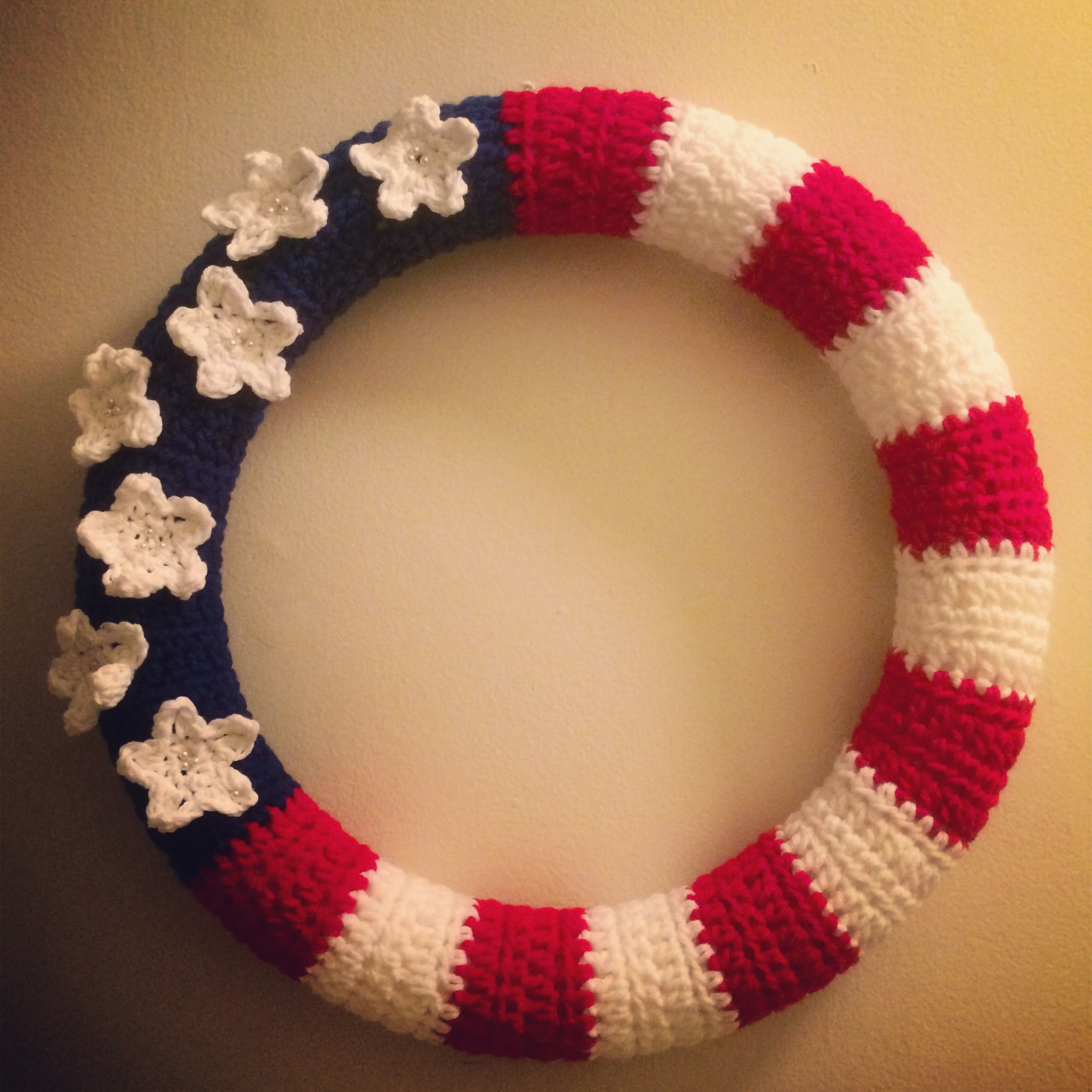 July 4th inspired door wreath. Used the link below for free pattern ...