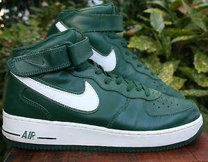 nike air af high top verde di pelle bianca, scarpe da tennis atletico