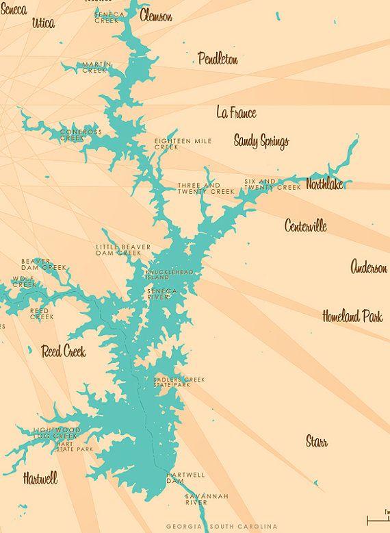 lake hartwell sc map Lake Hartwell Ga Sc Map Print With Images Map Art Map Art lake hartwell sc map