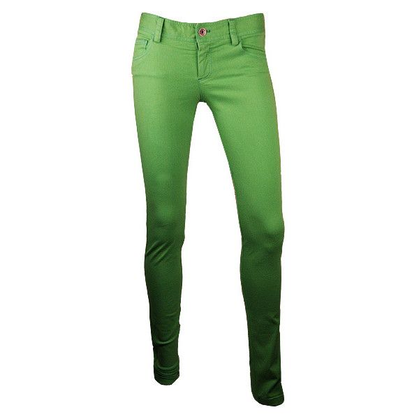 Green 5 Pocket Skinny Jeans ($94) ❤ liked on Polyvore
