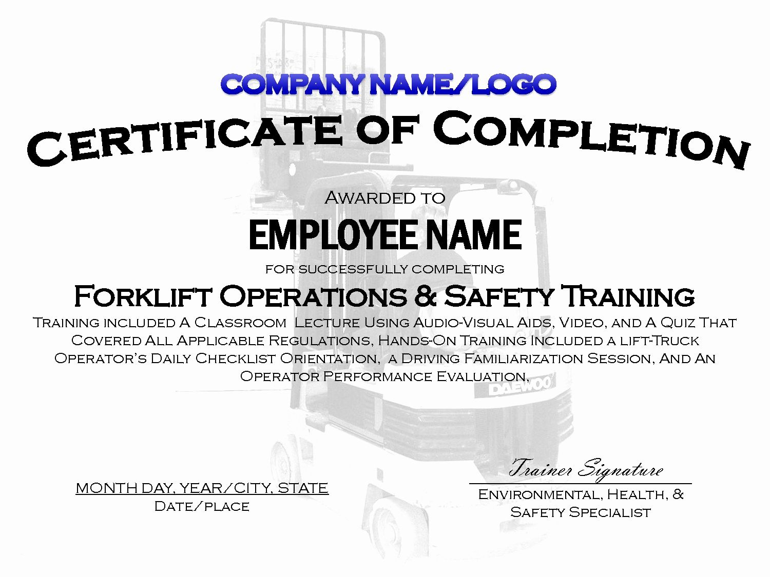 Forklift Training Certificate Template Beautiful Forklift Certificate Template Free Training Certificate Certificate Templates Forklift Training
