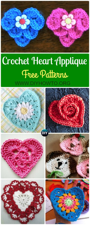 Crochet Heart Applique Free Patterns Collection: #Crocodile Stitch ...