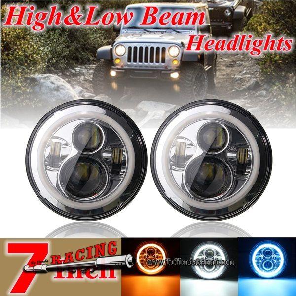 2x Faros Focos Delanteros 7 Pulgadas Led Cromados Con Ojos De Angel Jeep Wrangler Unlimited Jk Lj Tj 181 8 Projector Headlights Motorcycle Lights Angel Eyes
