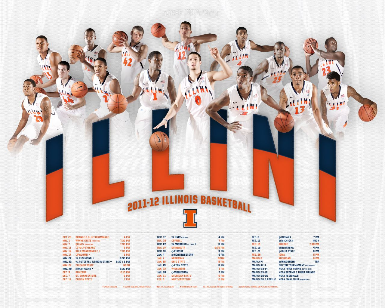 201112 Illinois Basketball schedule poster Illinois