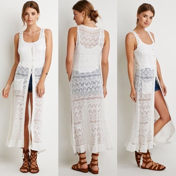 Knit Maxi Cardigan Beautiful white knit cardigan! Lightweight, Perfect for spring/summer! Wear over a cute dress or even over your bathing suit! Sweaters Cardigans