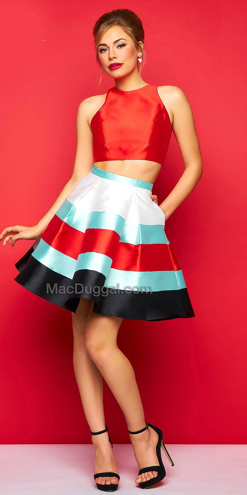 Two Piece Box Pleated Cocktail Dress By Mac Duggal Edressme Two Piece Cocktail Dresses Red Homecoming Dresses Two Piece Homecoming Dress [ 1600 x 800 Pixel ]
