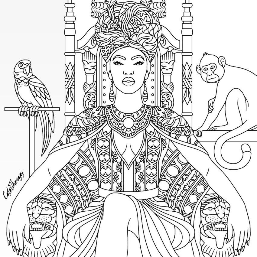 African Queen coloring page Coloring pages, Coloring books