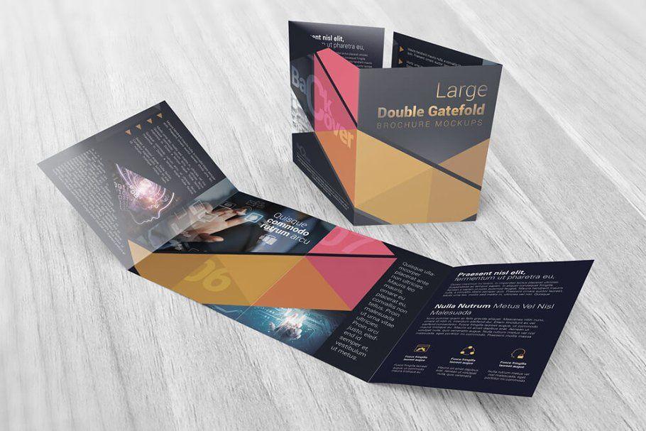 Double Gatefold Brochure Mockups In 2021 Brochures Mockups Brochure Format Brochure