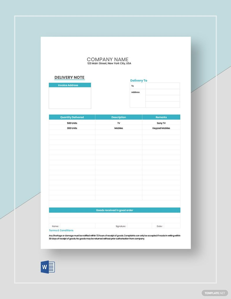 Editable Delivery Note Template Free Pdf Word Template Net Notes Template Company Letterhead Template Invoice Template Word