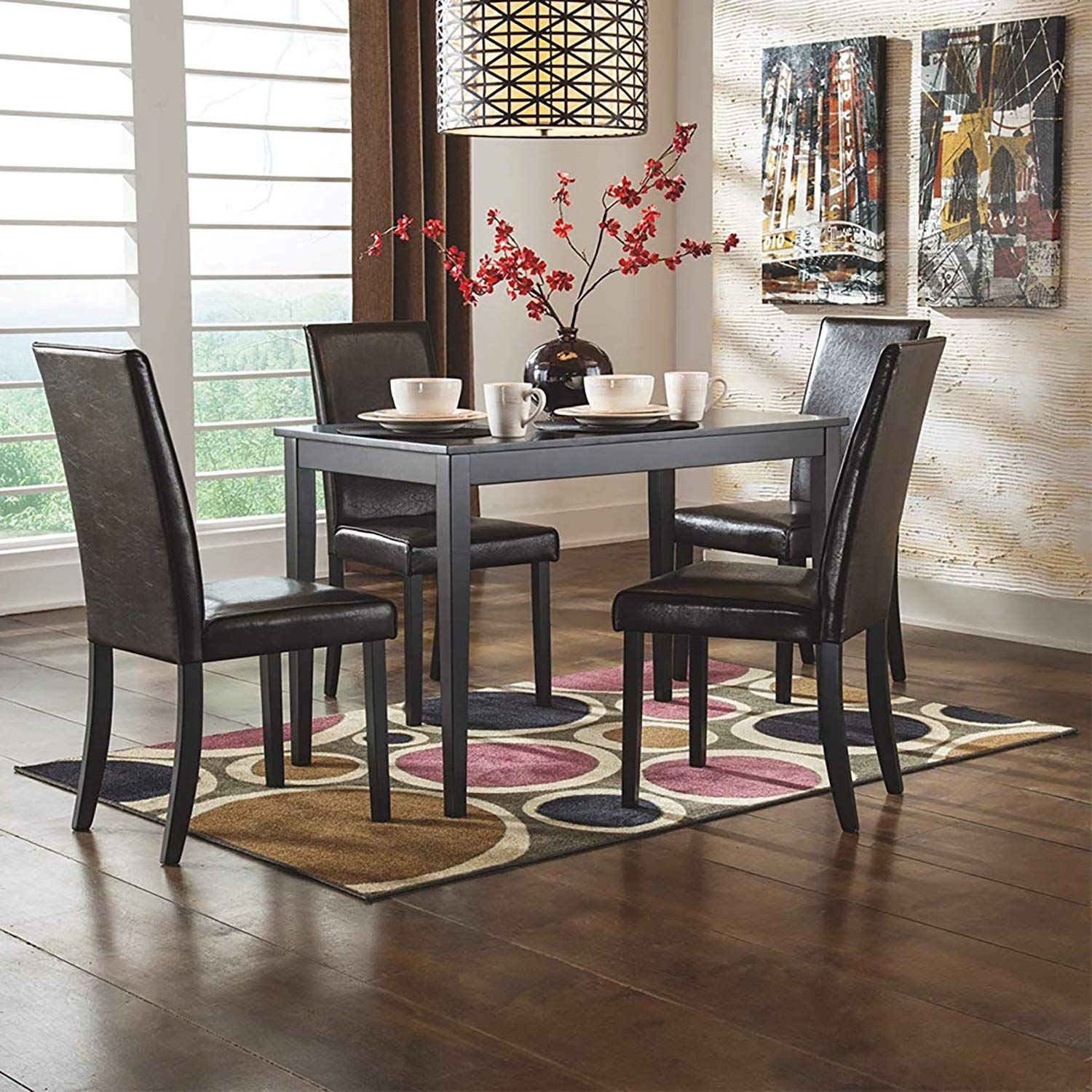 Furgle 7 Piece Furniture Kitchen Dining Table Set With Oak Wood