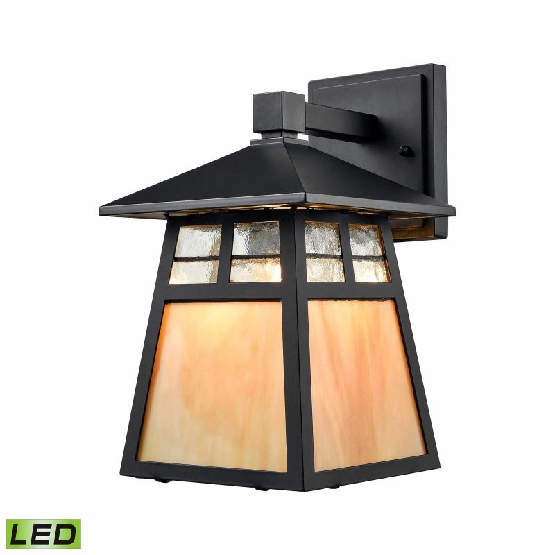 Elk Lighting 87050/1-LED 1 Light LED Outdoor Lantern Wall Sconce with Clear and Matte Black Outdoor Lighting Wall Sconces Outdoor Wall Sconces