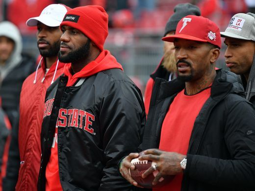 J.R. Smith and Lebron James of the Cleveland Cavaliers at The Horseshoe where The Ohio State Buckeye's took down the Michigan Wolverines.