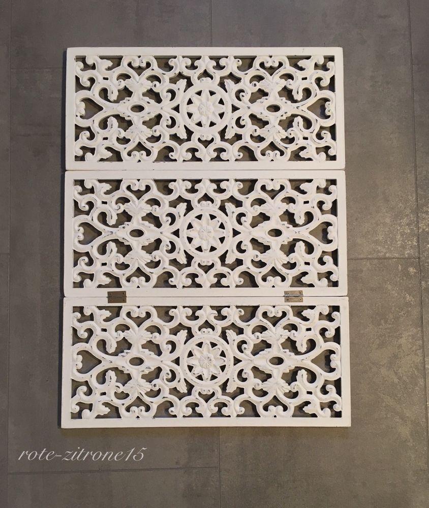 Triptychon Paravent Fensterparavent Sichtschutz Holz 60 x 45 cm Weiß ...