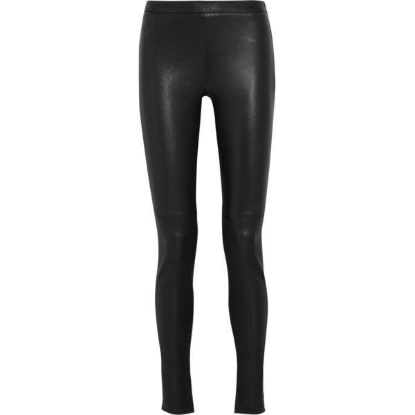 Roland Mouret Mortimer leather skinny pants ($1,215) ❤ liked on Polyvore featuring pants, jeans, roland mouret, black, leather, side zipper pants, slit pants, leather skinny pants, leather zip pants and leather pants