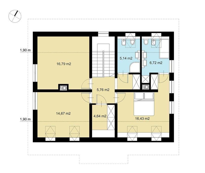 Plan Domu Jednorodzinnego Z Poddaszem Szukaj W Google