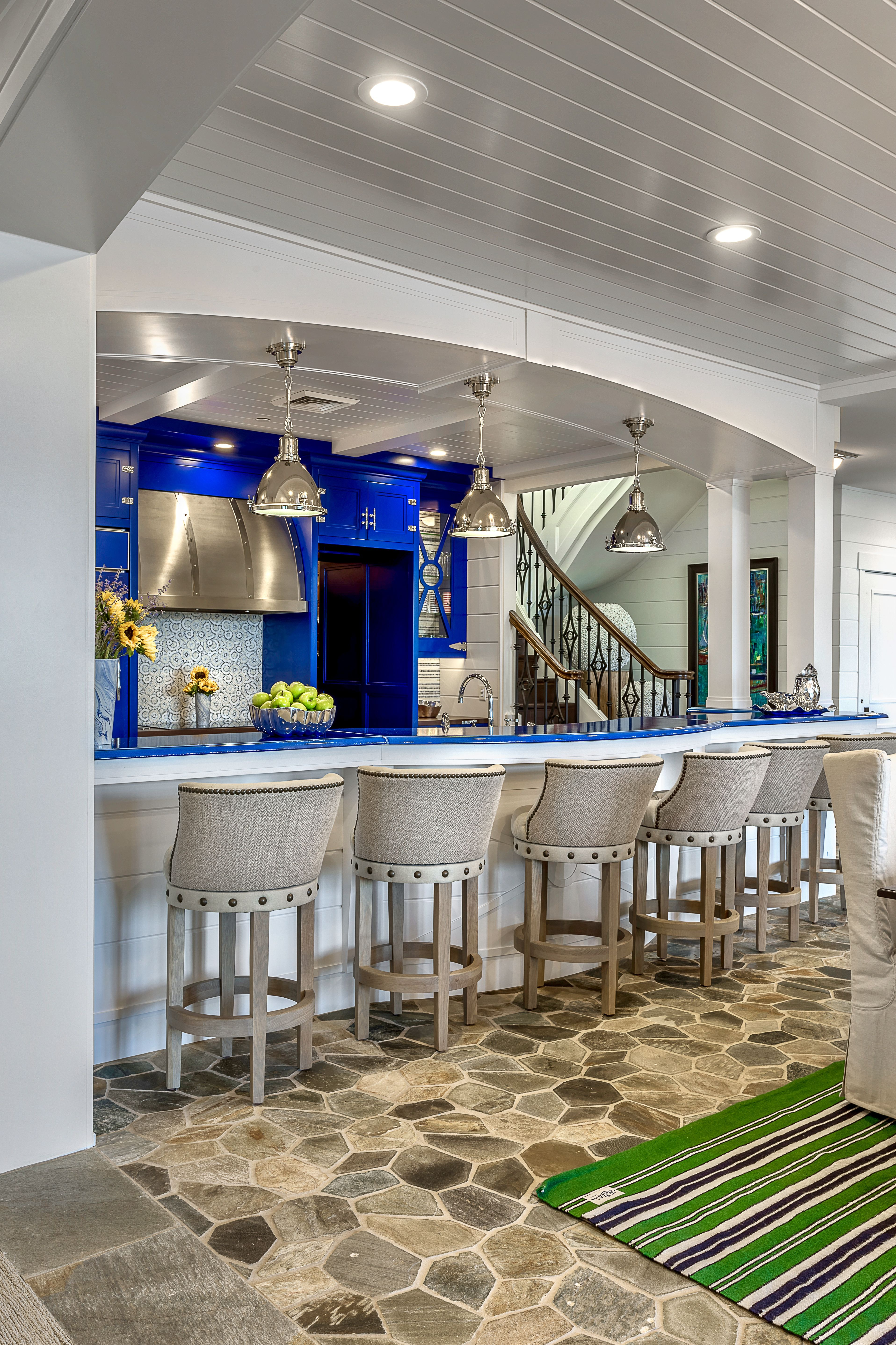 Designed By Chatham House Interiors Kali Cobalt Blue Kitchen Lake Home