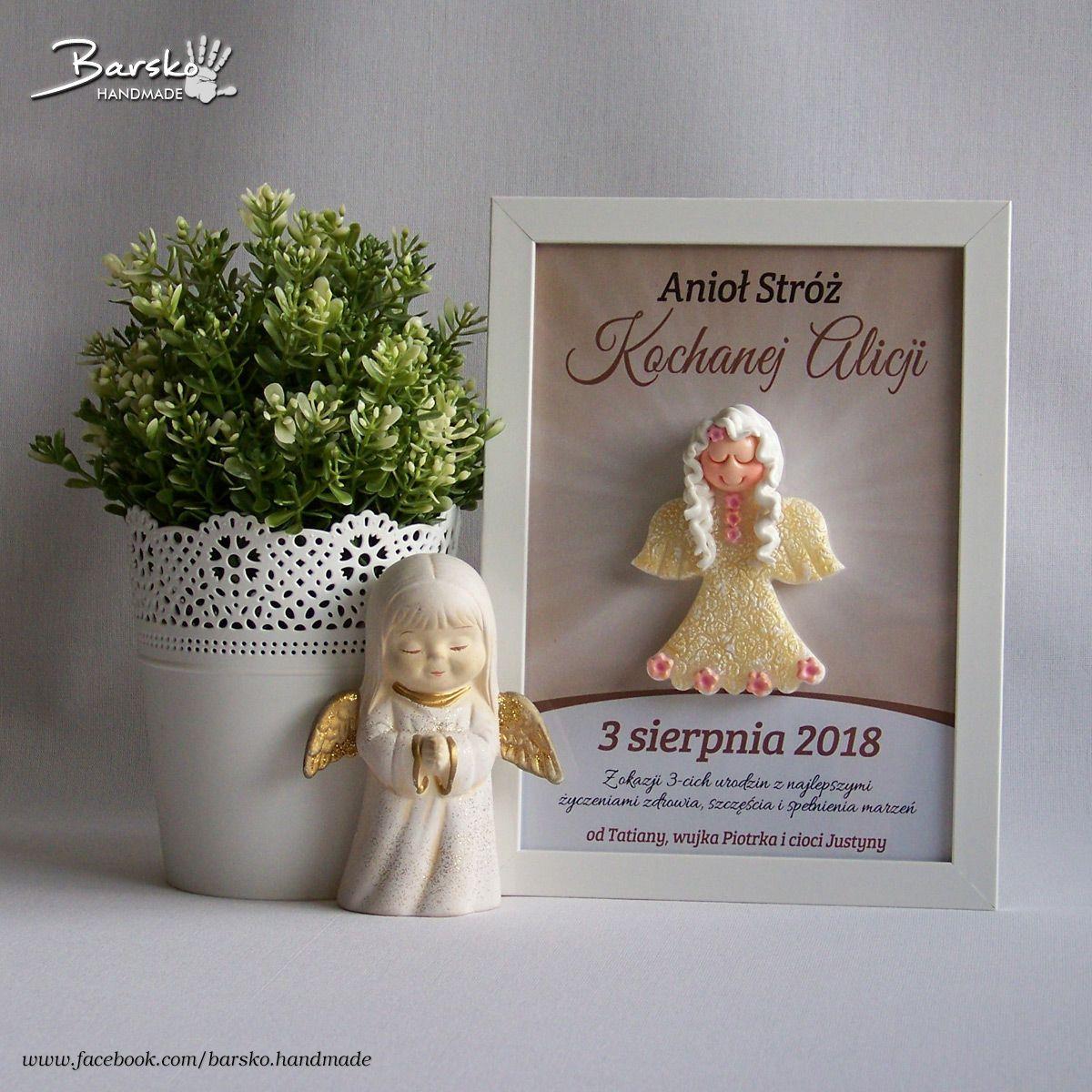 Pamiatki Urodzinowe Aniol Aniolek Urodziny Roczek Handmade