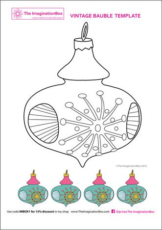 free vintage bauble colouring page | Navidad recursos | Pinterest ...