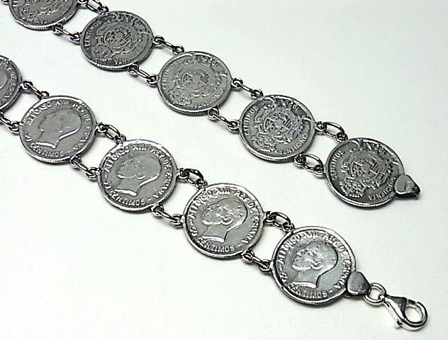 6060f513933f  Pulsera monedas de Plata de ley. Este es un atemporal diseño de Pulsera  realizada