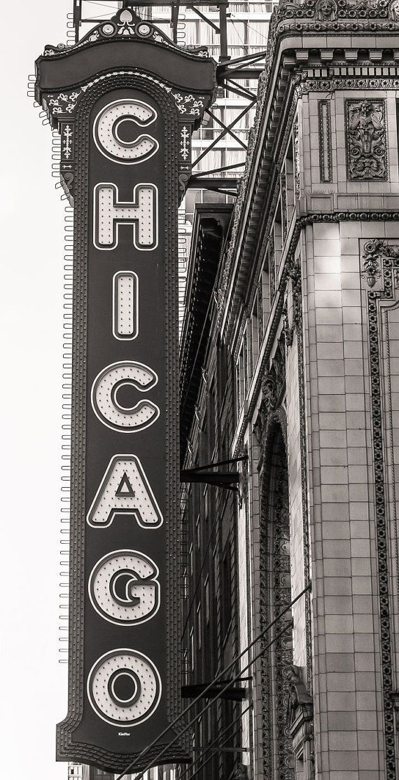 Chicago Photography, Chicago Theater, Black and White Photography, Large Art Print, Urban Art, Fine Art Photography - Chicago Theater Sign