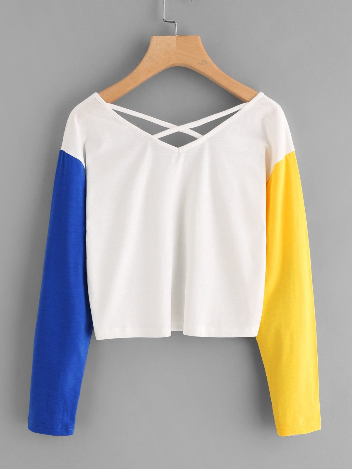T-Shirts by BORNTOWEAR. Contrast Sleeve Criss Cross Back Crop Tee