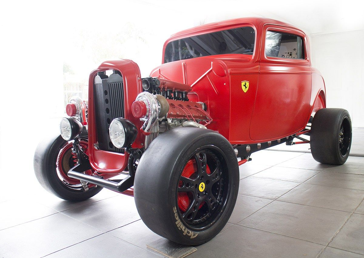 Custom 1932 ford with a twin turbo 2 9 l ferrari v8 engine swaps pinterest 1932 ford twin turbo and 32 ford