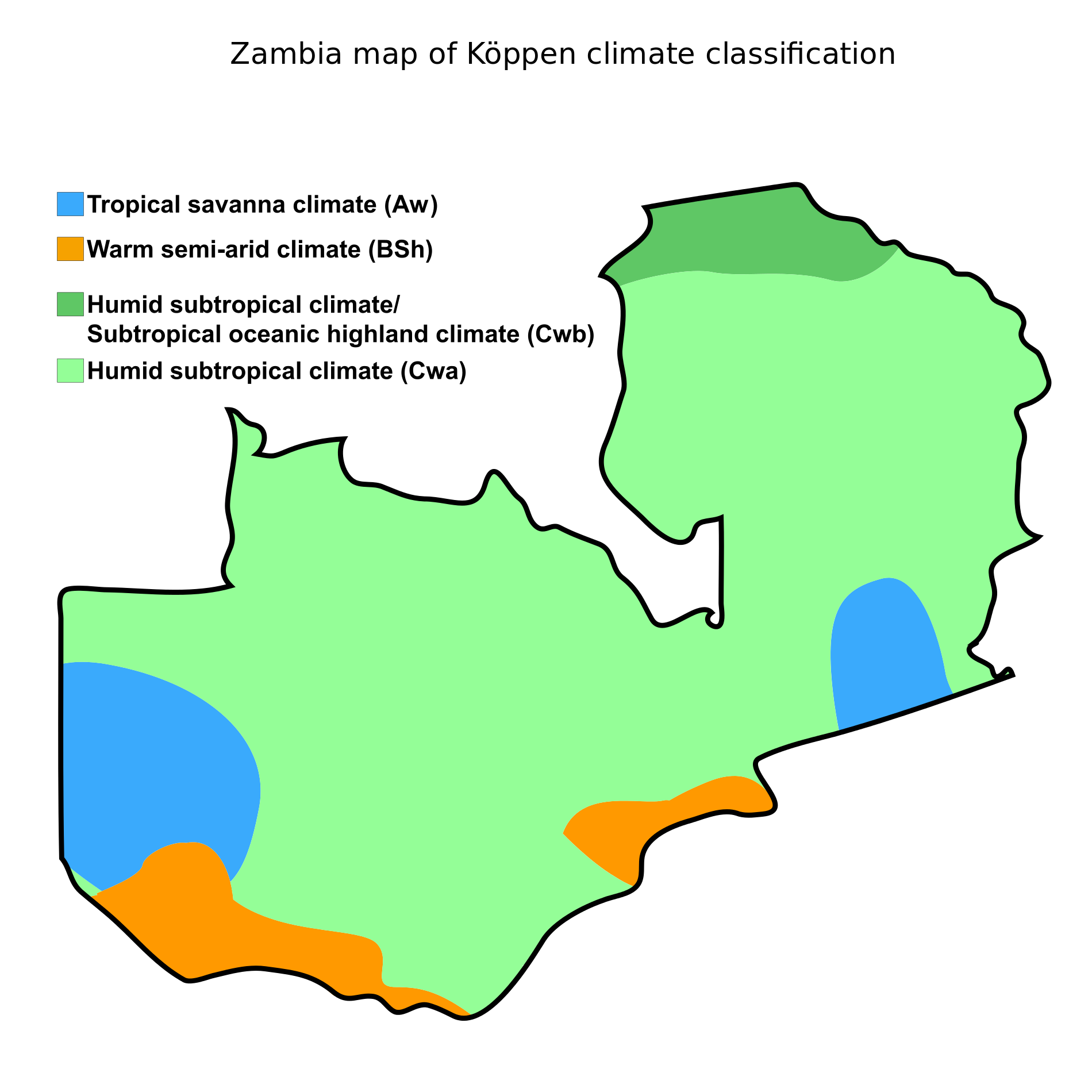 Zambia map of Koppen Climate Classification Africa Weather
