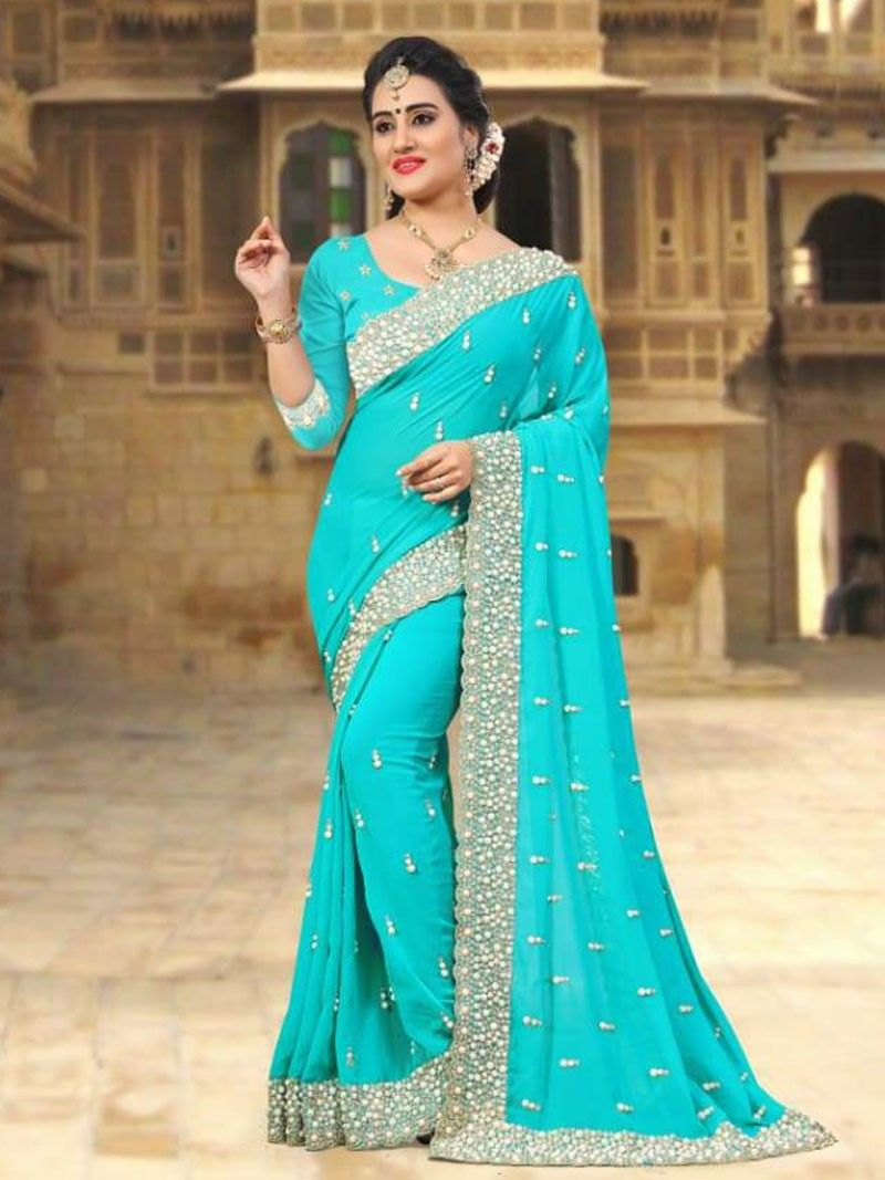 0c660144daa313 New Sky Blue Color Designer Women's Party Wear Pearl Embroidered Saree with  Blouse