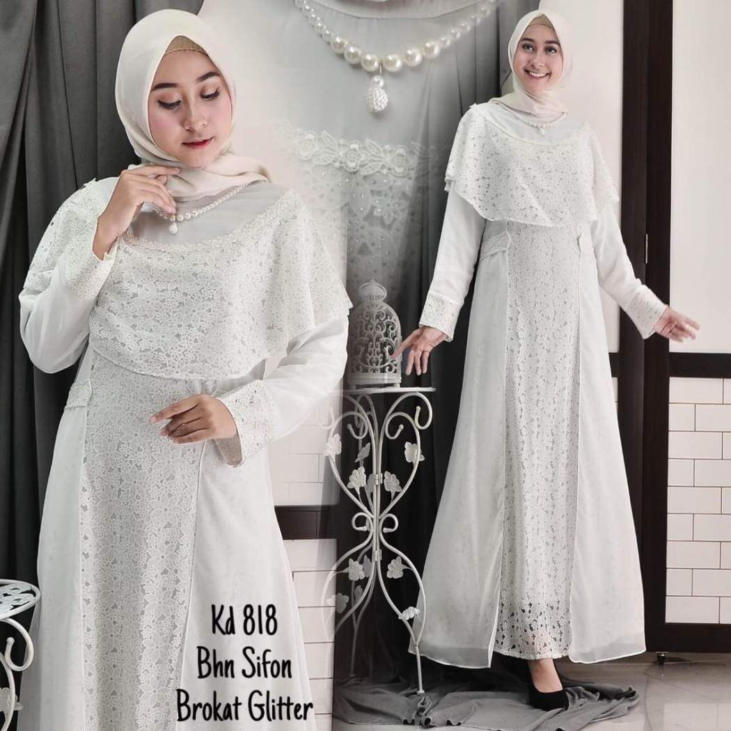 Baju Gamis Brokat Putih Terbaru Brokat, Baju muslim, Wanita