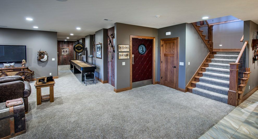 Basement color schemes basement traditional with game room for Carpet and paint color combinations