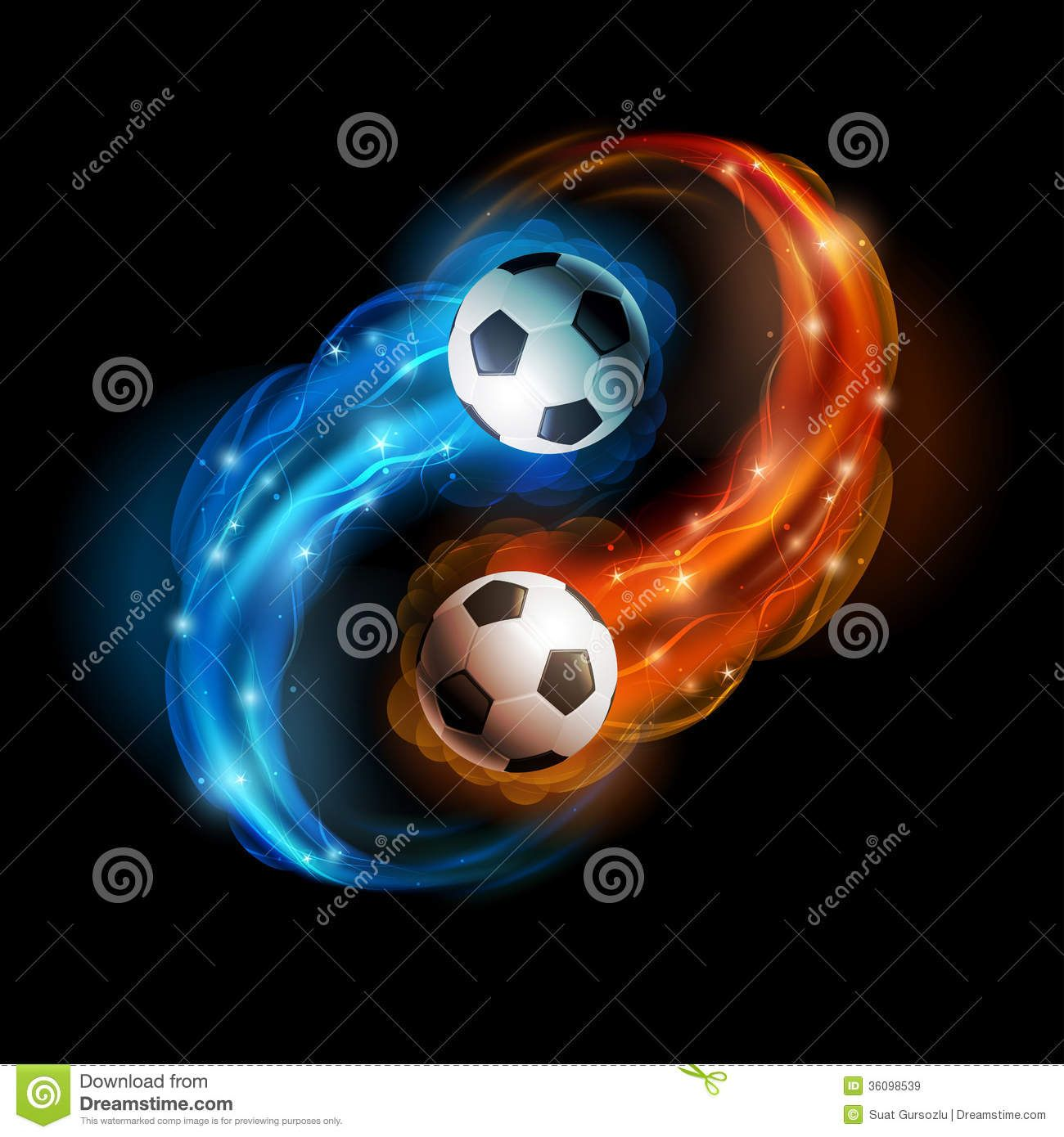 Soccer Balls In Flames And Lights Against
