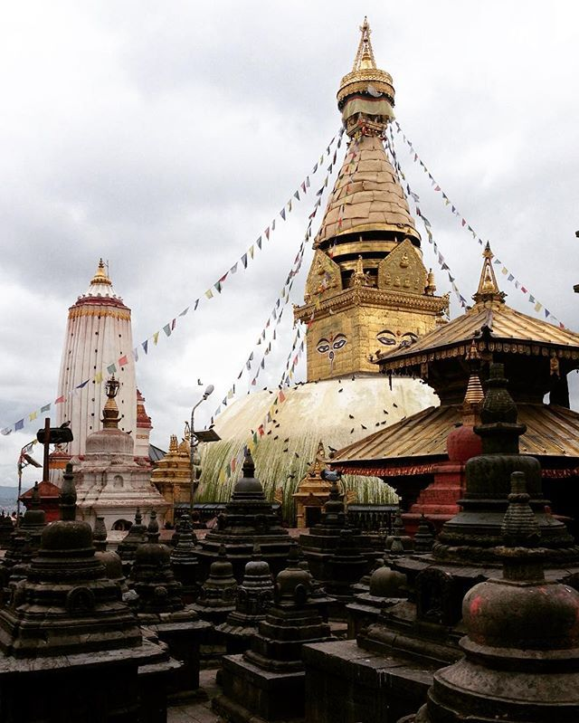 The large pair of eyes on each of the four sides of Monkey Temple's main stupa represent Wisdom and Compassion.  #ddRoams #didianddhai #monkey #temple #swayambhunath #kathmandu #nepal #travel #dktm #asia #prayer #flags #instatravel #nepalnow #lovenepal #wisdom #compassion