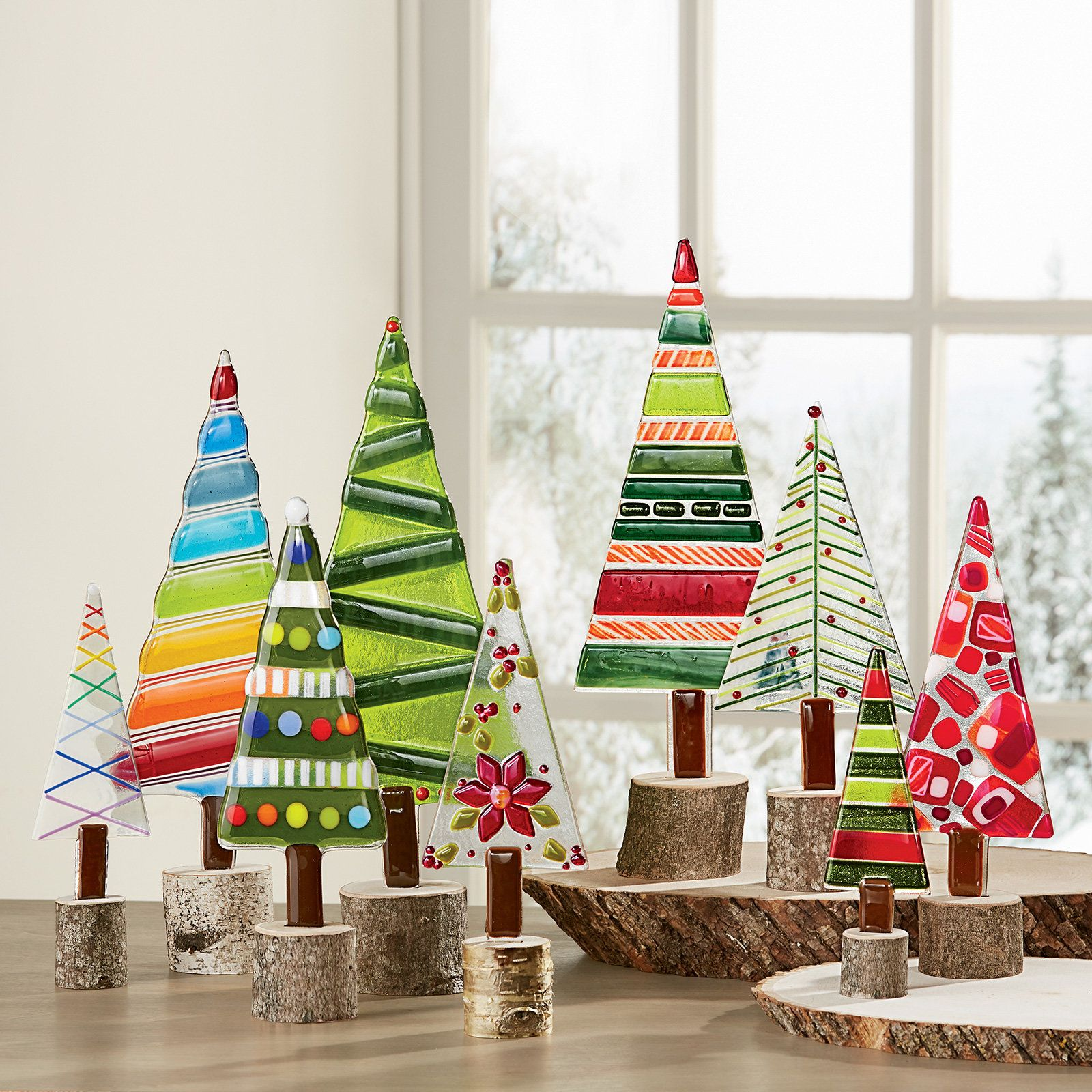 These Vibrant Holiday Trees Are Fancifully Detailed In Fused Glass Then Mounted On Disks Cut From Real Tree Branches Beautiful On Their Own