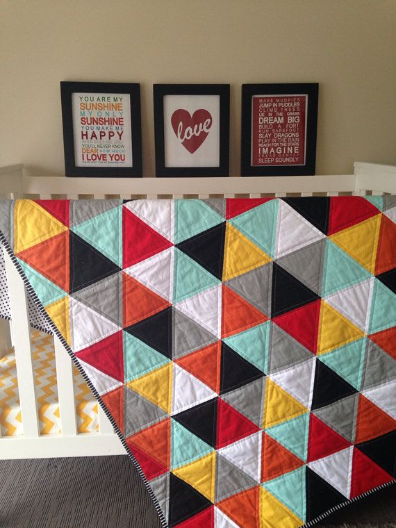Geometric Triangle Cot Quilt Mint Grey Black by RosaleesRoom