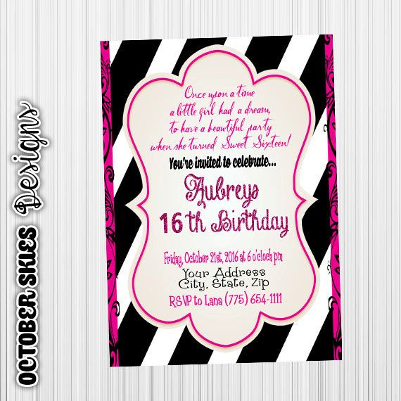 Sweet Sixteen Birthday Invitation, Surprise Party, Custom digital file, any age by OctoberSkiesDesigns on Etsy