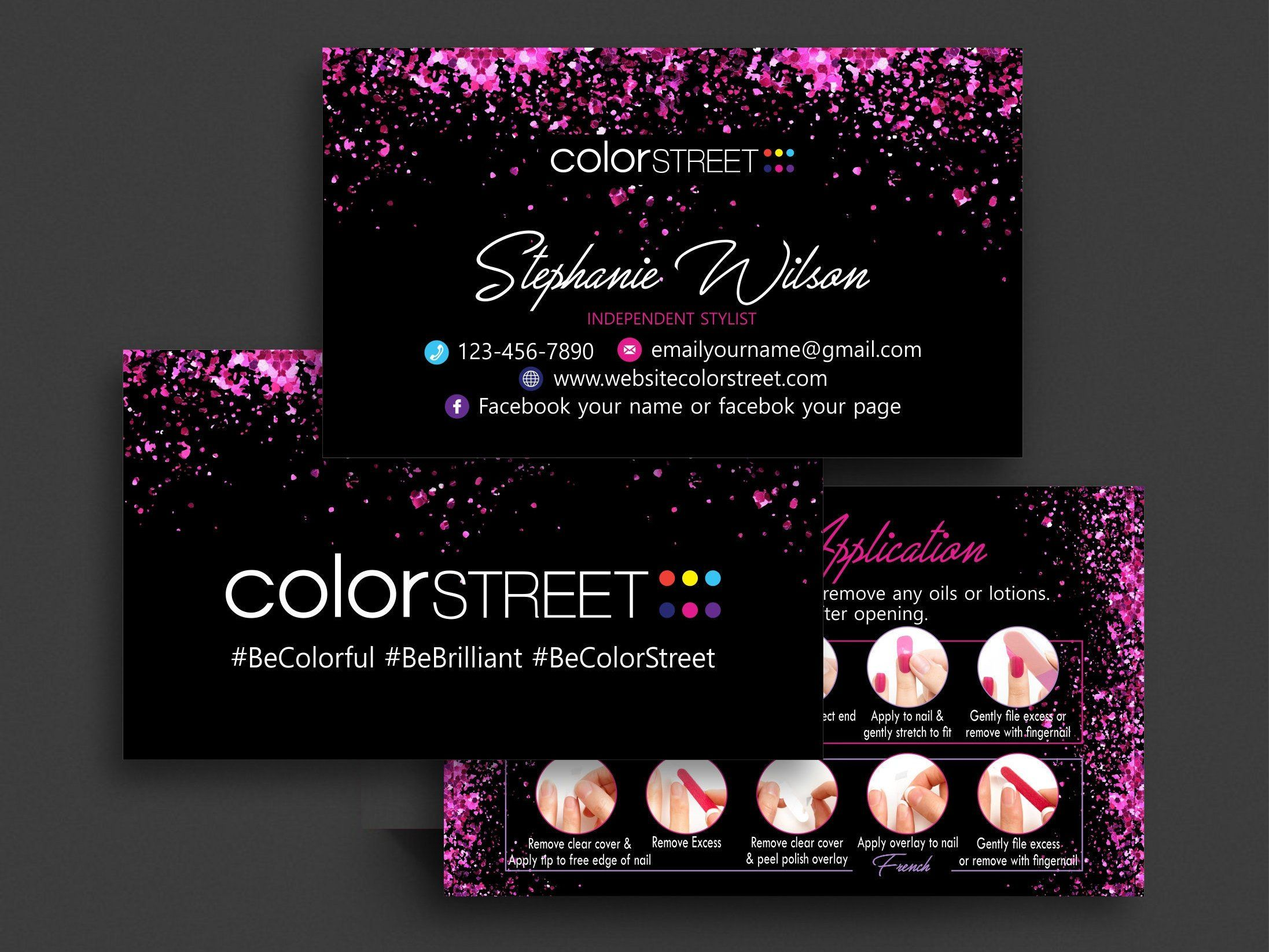 Color Street Business Cards Printable Color Street Twosie Biz Card Template Colorstreet Applica Printable Business Cards Printable Cards Colorful Business Card