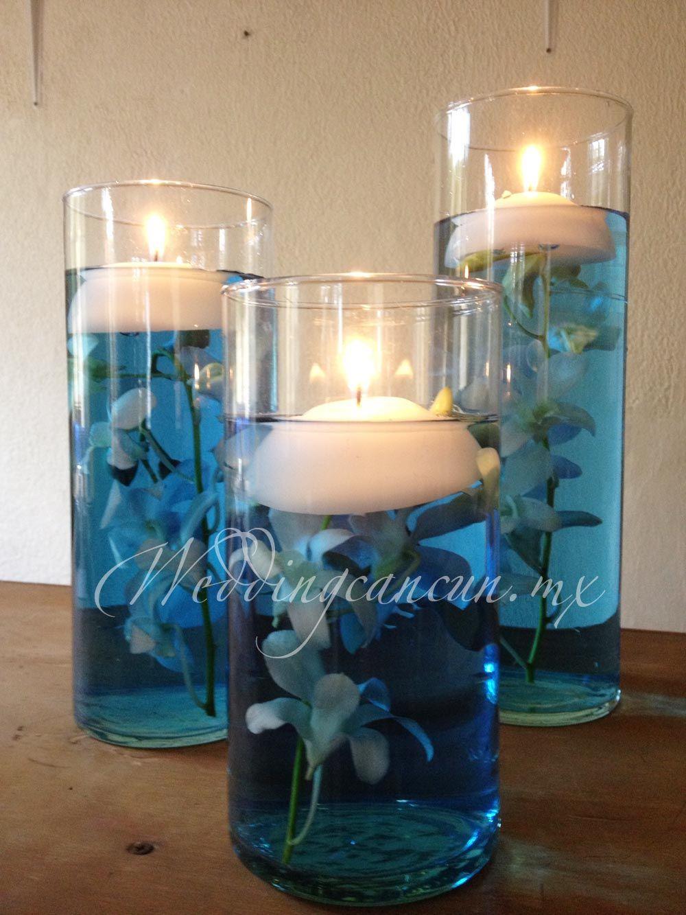 White dendrobium orchids underwater blue centerpiece decor