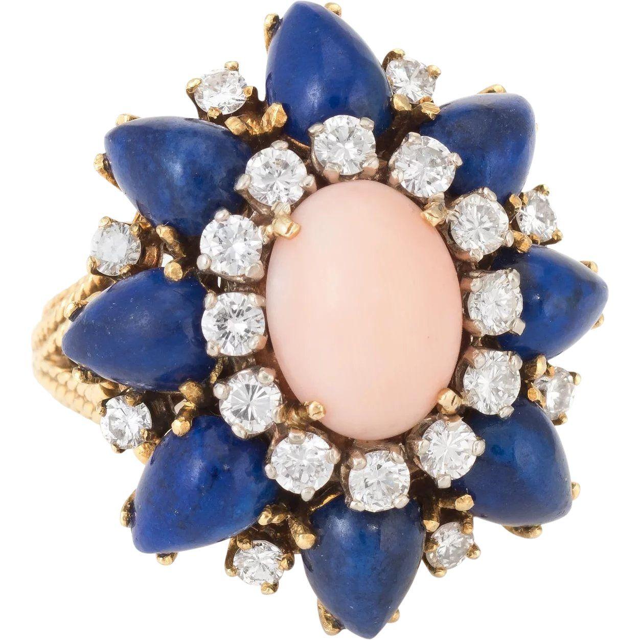 a2525404914 1960s Coral Lapis Diamond Cocktail Ring Vintage 14 Karat Yellow Gold Estate  Jewelry #rings #vintage #vintagebeginshere